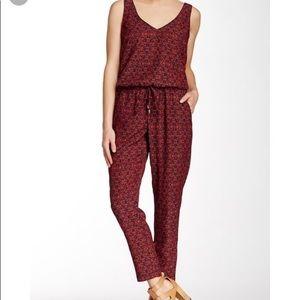 Splendid Red & Navy Floral Print Jumpsuit
